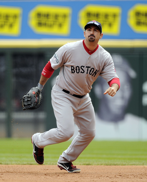 CHICAGO - APRIL 29:  Adrian Gonzalez #28 of the Boston Red Sox fields against the Chicago White Sox on April 29, 2012 at U.S. Cellular Field in Chicago, Illinois.  The White Sox defeated the Red Sox 4-1.  (Photo by Ron Vesely)   Subject:  Adrian Gonzalez