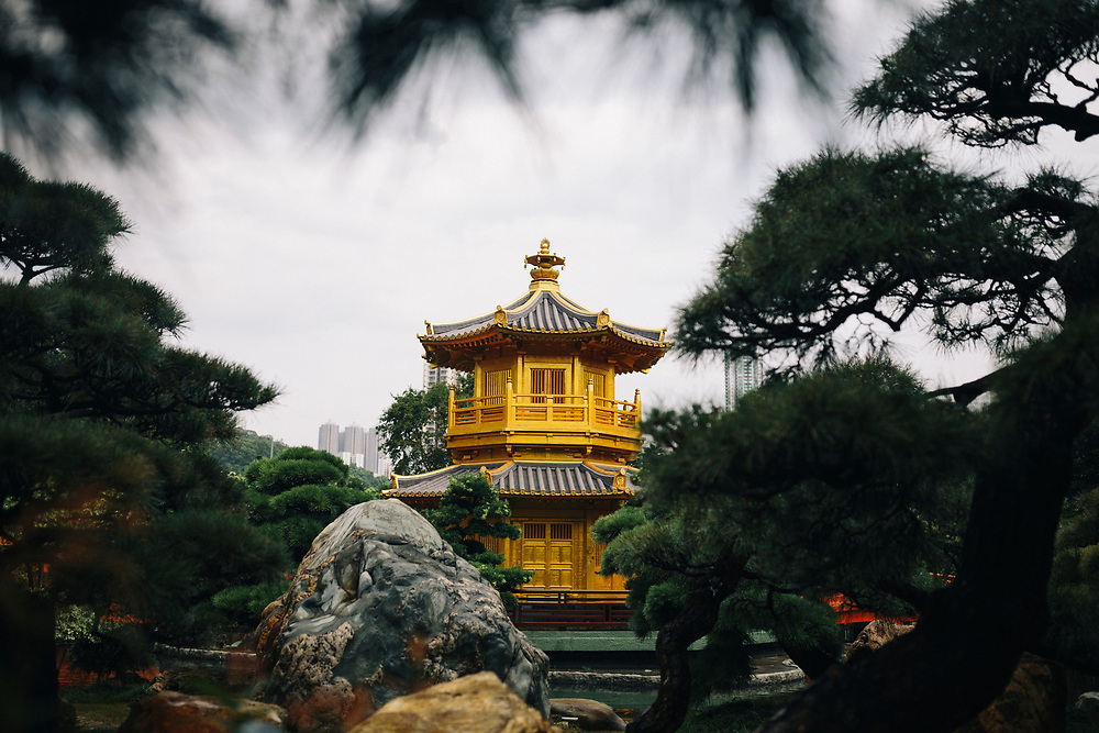 A temple at the Chi Lin Nunnery and Nan Lian Gardens in Hong Kong.