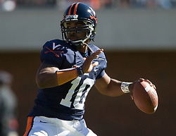 Virginia quarterback Jameel Sewell (10) drops to throw a pass. The #23 Virginia Cavaliers defeated the #24 Wake Forest Demon Deacons 17-16 at Scott Stadium in Charlottesville, VA on November 3, 2007.