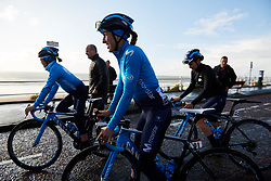 Mavi Garcia (ESP) and her Movistar Women's Team teammates prepare for sign on at ASDA Tour de Yorkshire Women's Race 2019 - Stage 2, a 132 km road race from Bridlington to Scarborough, United Kingdom on May 4, 2019. Photo by Sean Robinson/velofocus.com