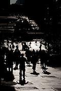 Sao Paulo_SP, Brasil...Silhueta de pessoas na avenida Sao Joao em Sao Paulo...People silhouette in the Sao Joao avenue in Sao Paulo...Foto: MARCUS DESIMONI / NITRO