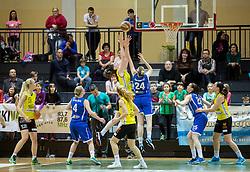 Eva Lisec of Athlete Celje vs Maja Jakobcic of Triglav during basketball match between ZKK Athlete Celje and ZKK Triglav in Finals of 1. SKL for Women 2014/15, on April 20, 2015 in Gimnazija Celje Center, Celje, Slovenia. Photo by Vid Ponikvar / Sportida