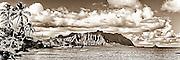 Kualoa ridge and Kaneohe Bay vintage B&W panorama