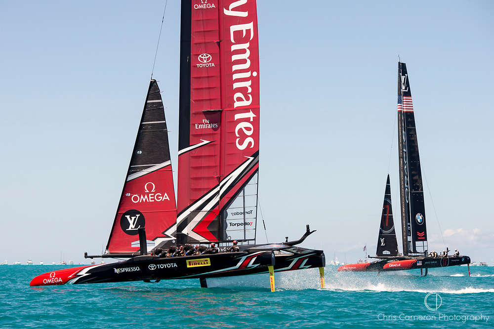 The Great Sound, Bermuda, 25th June 2017. Emirates Team New Zealand and Oracle Team USA race seven. Day four of racing in the America's Cup presented by Louis Vuitton.