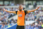 Hull City midfielder Ahmed Elmohamady appeals a decision during the Sky Bet Championship match between Brighton and Hove Albion and Hull City at the American Express Community Stadium, Brighton and Hove, England on 12 September 2015. Photo by Phil Duncan.