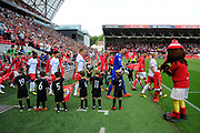 Bristol City and Nottingham Forest come out for the start of the match during the EFL Sky Bet Championship match between Bristol City and Nottingham Forest at Ashton Gate, Bristol, England on 4 August 2018. Picture by Graham Hunt.