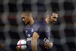 November 2, 2018 - Paris, Ile-de-France, France - Alphonse Areola and Gianluigi Buffon attend the soccer match game between PSG and Lille at the Parc de Prince, in Paris, France. On November 2, 2018. (Photo by Mehdi Taamallah / Nurphoto) (Credit Image: © Mehdi Taamallah/NurPhoto via ZUMA Press)