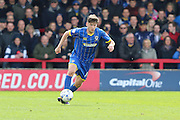 Connor Smith defender for AFC Wimbledon (18) in action during the Sky Bet League 2 match between AFC Wimbledon and Crawley Town at the Cherry Red Records Stadium, Kingston, England on 16 April 2016. Photo by Stuart Butcher.