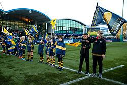 Worcester Warriors flag bearers - Mandatory by-line: Robbie Stephenson/JMP - 30/11/2019 - RUGBY - Sixways Stadium - Worcester, England - Worcester Warriors v Sale Sharks - Gallagher Premiership Rugby