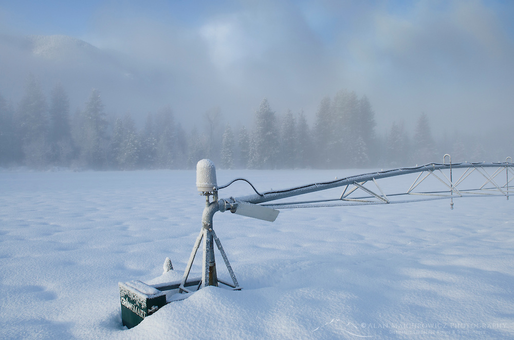 Frosted irrigation pivot in the Methow Valley near Mazama, North Cascades Washington