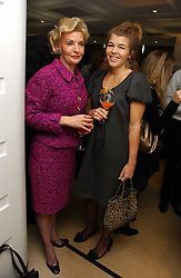 Left to right, WENDY COUNTESS OF CALEDON and AMBER NUTTALL at a lunch hosted by Fawaz Gruosi to celebrate the launch of De Grisogono's latest watch 'Be Eight' held at Nobu, 19 Old Park Lane, London W1 on 30th November 2006.<br />