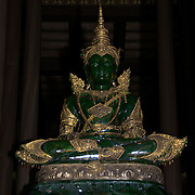 The Phra Kaew Marakot image, or emerald buddha, at the Wat Phra Kaew in Chiang Rai, Thailand.