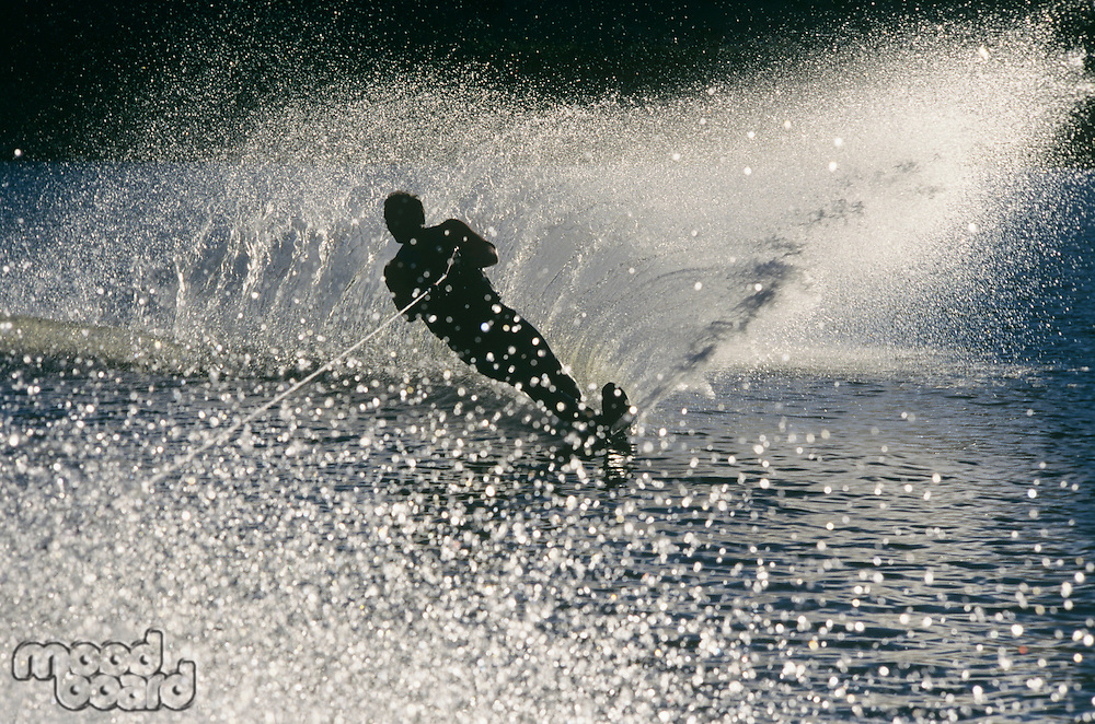 Water skier in action silhouette
