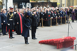 © Licensed to London News Pictures. 07/11/2019. London, UK. The Duke and Duchess of Sussex and The Duchess of Cornwall attend the 91st Field of Remembrance at Westminster Abbey. The Field of Remembrance has been organised by The Poppy Factory and held in the grounds of Westminster Abbey since November 1928. Photo credit: Ray Tang/LNP
