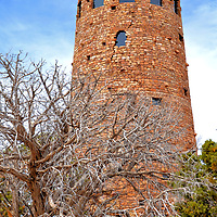 Desert View Watchtower at Grand Canyon National Park in Arizona<br /> The Desert View Watchtower was built in 1932 near the Grand Canyon National Park&rsquo;s east entry. Architect Mary Colter patterned the structure after construction techniques used by the Ancient Pueblo people. Inside is a gift shop plus murals by 20th century painter Fred Kabotie. He was a member of the Hopi tribe of Native Americans and a former tower caretaker. The observation deck near the 70 foot summit provides a panoramic lookout over the canyon.