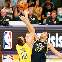 10 October 2017: Jump ball between Utah Jazz center Rudy Gobert (27) and Los Angeles Lakers center Brook Lopez (11) during the Utah Jazz 105-99 victory over the LA Lakers, at the Staples Center, Los Angeles, California, USA.