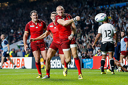 England Full Back Mike Brown celebrates scoring a try - Mandatory byline: Rogan Thomson/JMP - 07966 386802 - 18/09/2015 - RUGBY UNION - Twickenham Stadium - London, England - England v Fiji - Rugby World Cup 2015 Pool A.