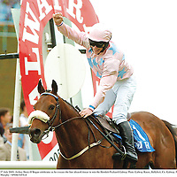 27 July 2005; Jockey Denis O'Regan celebrates as he crosses the line aboard Ansar to win the Hewlett-Packard Galway Plate. Galway Races, Ballybrit, Co. Galway. Picture credit; Pat Murphy / SPORTSFILE