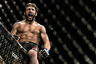GLASGOW, SCOTLAND, JULY 18, 2015: Jimmie Rivera celebrates his TKO win during UFC Fight Night 72 inside the SSE Hydro Arena in Glasgow. (Martin McNeil for ESPN)