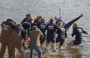 London, Great Britain, Oxford Cox Jennifer EHR, dunked after the presentation,The Newton Women's Boat Race, Men's Race , Championship Course.  River Thames. Putney to Mortlake. ENGLAND. <br /> <br /> 17:28:27  Saturday  11/04/2015<br /> <br /> [Mandatory Credit; Peter Spurrier/Intersport-images]<br /> <br /> OUWBC Crew: <br /> Maxie SCHESKE, Anastasia CHITTY, Shelley PEARSON, Lauren KEDAR, Maddy BADCOTT, Emily REYNOLDS, Nadine GRAEDEL IBERG, Caryn DAVIES and Cox Jennifer EHR
