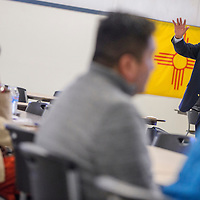 Navajo Nation Human Rights Commission executive director Leonard Gorman leads a credit seminar at the Community Service Center in Gallup Thursday.