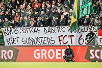 DEN HAAG - ADO Den Haag - FC Twente , Voetbal , Seizoen 2015/2016 , Eredivisie , Kyocera Stadion , 04-03-2016 , Spandoek KNVB: Straf daders wanbeleid niet supporters