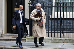 London, UK. 28 January, 2020. Geoffrey Cox QC, Attorney General, leaves 10 Downing Street following a National Security Council meeting convened to finalise the role of Chinese multinational technology company Huawei in the construction of the UK's 5G digital network.