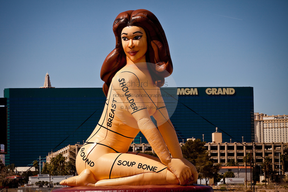 Giant blow up doll of a women marked like a butcher cuts Las Vegas, Nevada