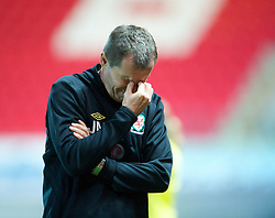 LLANELLI, WALES - Saturday, September 15, 2012: Wales' manager Jarmo Matikainen looks dejected as his side lose 2-1 to Scotland during the UEFA Women's Euro 2013 Qualifying Group 4 match at Parc y Scarlets. (Pic by David Rawcliffe/Propaganda)
