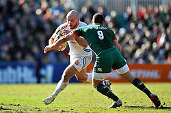 Jack Yeandle of Exeter Chiefs takes on the Leicester Tigers defence - Photo mandatory by-line: Patrick Khachfe/JMP - Mobile: 07966 386802 28/03/2015 - SPORT - RUGBY UNION - Leicester - Welford Road - Leicester Tigers v Exeter Chiefs - Aviva Premiership