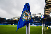 general shot of the corner flag at the Premier League match between Chelsea and West Ham United at Stamford Bridge, London, England on 8 April 2018. Picture by Sebastian Frej.