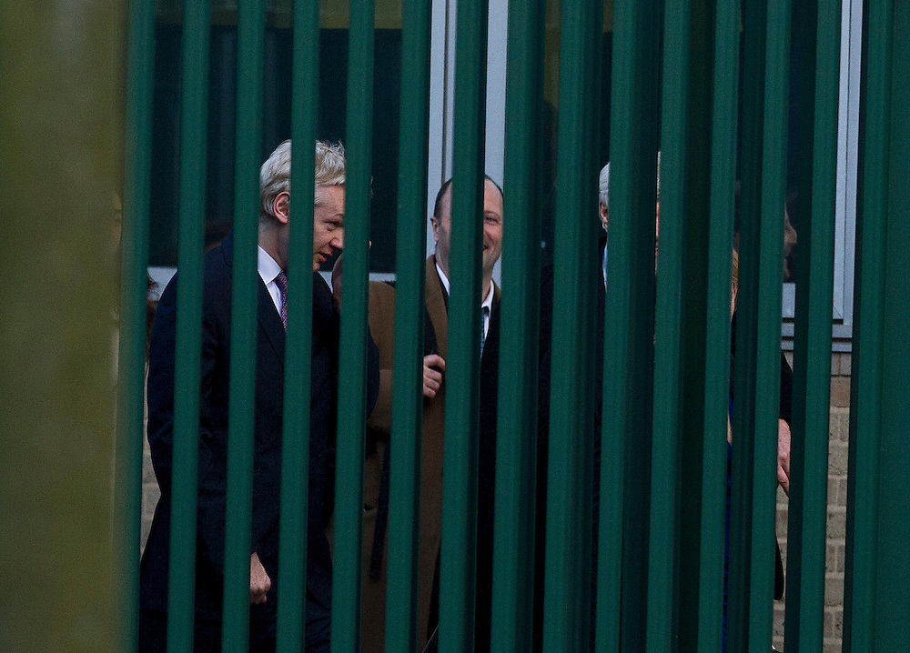 Julian Assange leaves Belmarsh Magistrates Court, in London, where he  appearead for extradition hearing after being granted bail at December 14, 2010
