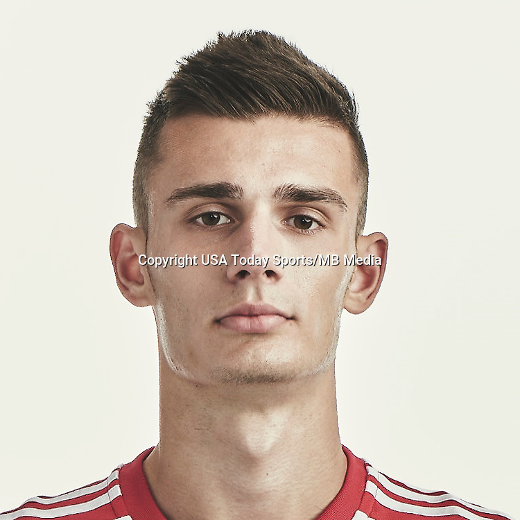Feb 16, 2015; New York Red Bulls player Matt Miazga poses for a photo.