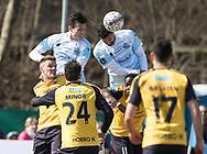 FODBOLD: Pascal Gregor og Daniel Jørgensen (FC Helsingør) i luften under kampen i ALKA Superligaen mellem FC Helsingør og Hobro IK den 8. april 2018 på Helsingør Stadion. Foto: Claus Birch.