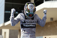 Race winner Lewis Hamilton (GBR) Mercedes AMG F1 celebrates in parc ferme.<br /> United States Grand Prix, Sunday 2nd November 2014. Circuit of the Americas, Austin, Texas, USA.