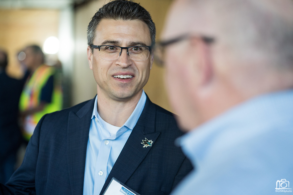 Jon Carpenter of the San Jose Sharks networksduring SVBJ's BizMix presented by SWENSON at The Grad in Downtown San Jose, California, on July 31, 2019. (Stan Olszewski for Silicon Valley Business Journal)
