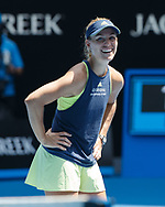 ANGELIQUE KERBER (GER) gibt TV Interview auf dem Platz,<br /> <br /> Tennis - Australian Open 2018 - Grand Slam / ATP / WTA -  Melbourne  Park - Melbourne - Victoria - Australia  - 24 January 2018.