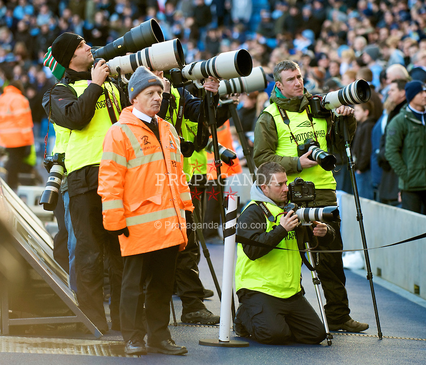 MANCHESTER, ENGLAND - Sunday, January 31, 2010: Photographers before the Premiership match between Manchester City and Portsmouth at the City of Manchester Stadium. (Photo by David Rawcliffe/Propaganda)
