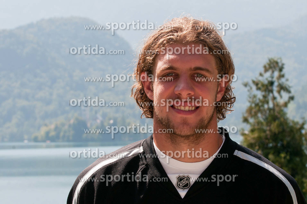 Anze Kopitar, LA Kings #11, and in background Lake Bled with island and church at practice of LA Kings superstar Anze Kopitar before NHL League, on August 22, 2011, in Ledena Dvorana, Bled, Slovenia. (Photo by Matic Klansek Velej / Sportida)