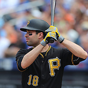 Neil Walker, Pittsburgh Pirates, batting during the New York Mets Vs Pittsburgh Pirates MLB regular season baseball game at Citi Field, Queens, New York. USA. 16th August 2015. Photo Tim Clayton