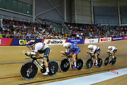 Men Team Pursuit, Great Britain, TANFIELD Charlie, EMADI Kian, BURKE Steven, HAYTER Ethan, WOOD Oliver, during the UEC Track Cycling European Championships Glasgow 2018, at Sir Chris Hoy Velodrome, in Glasgow, Great Britain, Day 2, on August 3, 2018 - Photo Luca Bettini / BettiniPhoto / ProSportsImages / DPPI - Belgium out, Spain out, Italy out, Netherlands out -