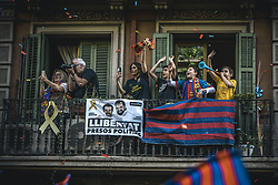 April 30, 2018 - Barcelona, Catalonia, Spain - FC Barcelona fans on their balcony follow the club's open top bus victory parade after winning the LaLiga with their eighth double in the club history (Credit Image: © Matthias Oesterle via ZUMA Wire)