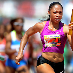 Kersee Allstars' Allyson Felix runs the second leg of the women's 4x100-meter invitational Elite at the Mt. SAC Relays at Mt. San Antonio College on Saturday, April 16, 2011 in Walnut, Calif,. (SGVN/Staff Photo by Keith Birmingham/SPORTS)