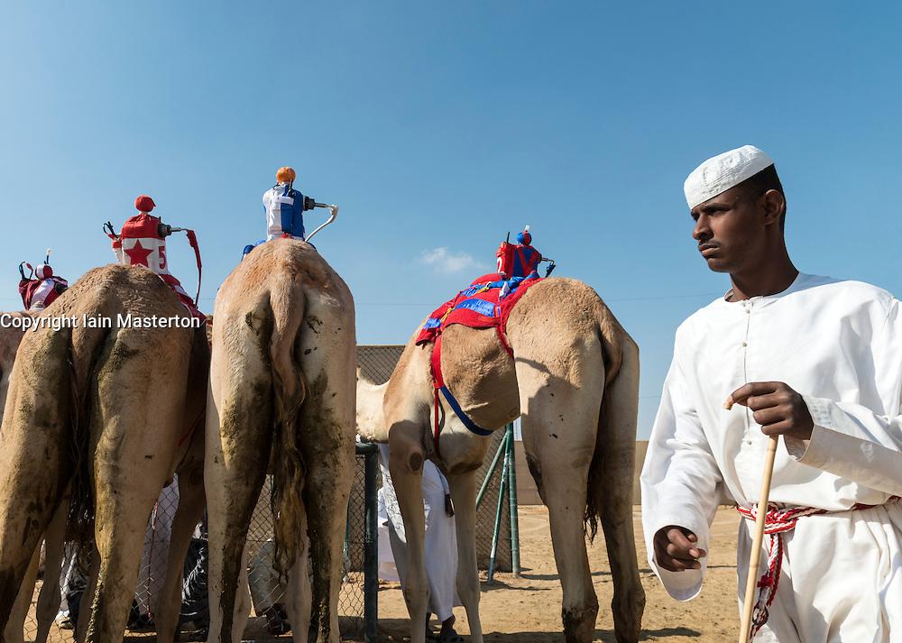 camel races at Duabi Camel Racing Club at Alm Marmoum in Dubai United Arab Emirates