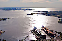 Aerials of Port of Baltimore shipping terminal with Global Commander coal ship at berth