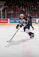 KELOWNA, BC - OCTOBER 03:  Lukas Svejkovsky #28 of the Vancouver Giants moves the puck up the ice against the Kelowna Rockets  at Prospera Place on October 3, 2018 in Kelowna, Canada. (Photo by Marissa Baecker/Getty Images)