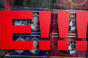 British royal family merchanidise and tourism souvenir tea bags which show the faces of Queen Elizabeth and Meghan Markle and Prince Harry, the Duke and Duchess of Sussex at their 2018 wedding, behind two exclamation marks in the window of trinket shop in the West End, on 15th January 2020, in London, England.
