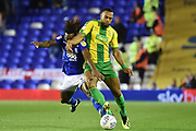 West Bromwich Albion midfielder Matt Phillips (10) battles for possession  with Birmingham City midfielder Jacques Maghoma (19) during the EFL Sky Bet Championship match between Birmingham City and West Bromwich Albion at St Andrews, Birmingham, England on 14 September 2018.