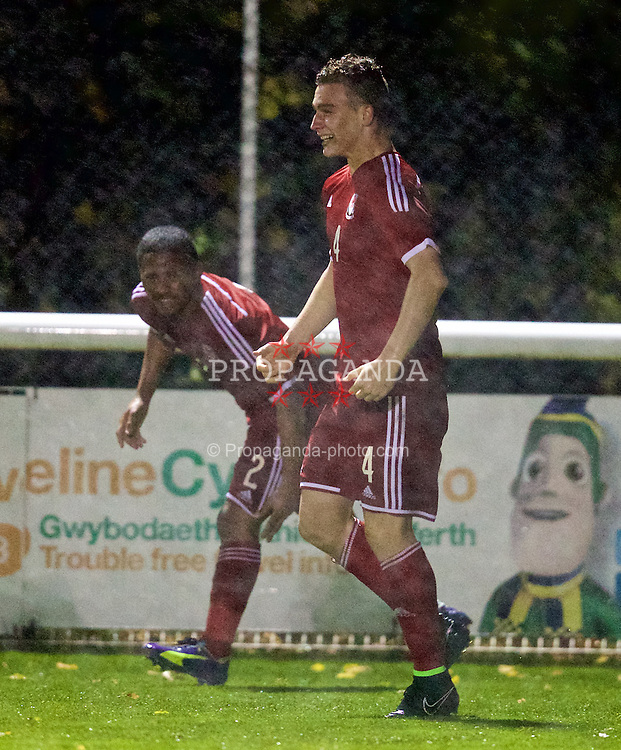 BANGOR, WALES - Friday, October 31, 2014: Wales' Liam Angel celebrates scoring the winning goal against England during the Under-16's Victory Shield International match at the Nantporth Stadium. (Pic by David Rawcliffe/Propaganda)