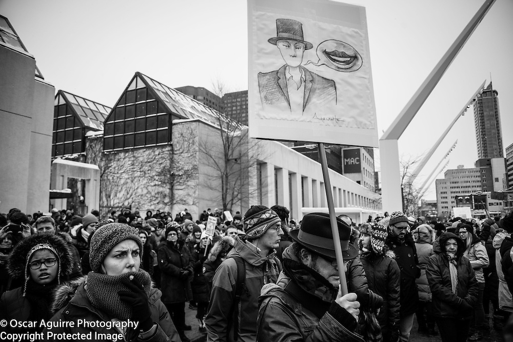 Je suis Charlie. Silent demonstration in Montreal in solidarity with France under the say Je suis Charlie